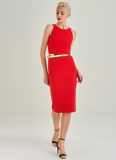 People By Fabrika Kemer Detaylı Kalem Elbise Kırmızı